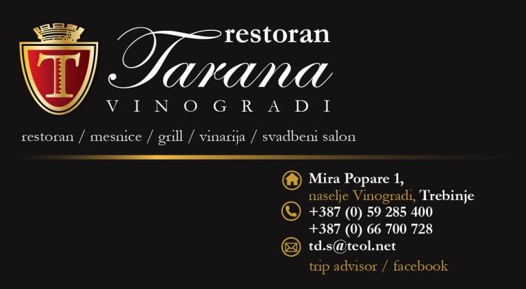 Restoran Tarana vizit karta