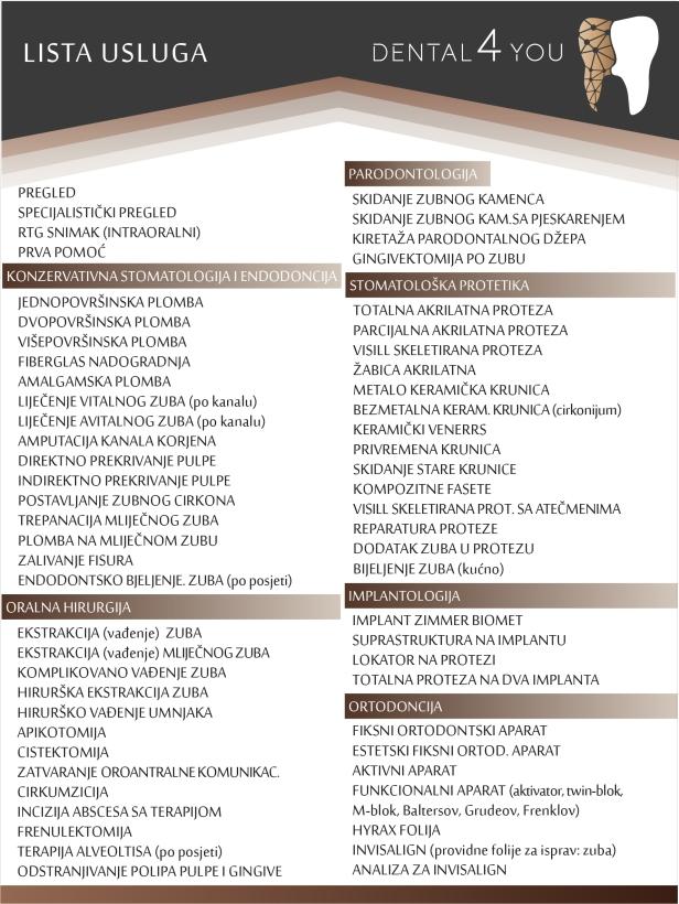 DENTAL 4 YOU lista usluga